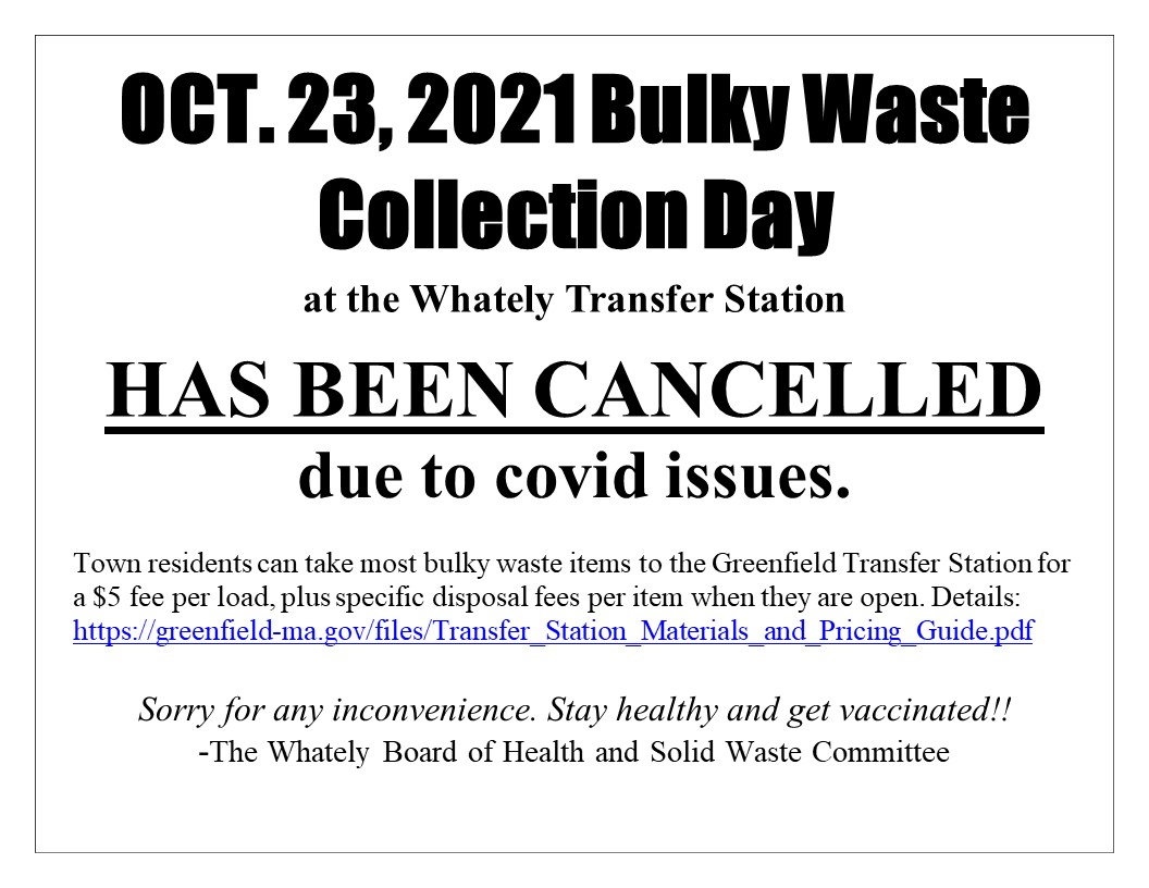 Bulky waste Day October 23rd cancelled