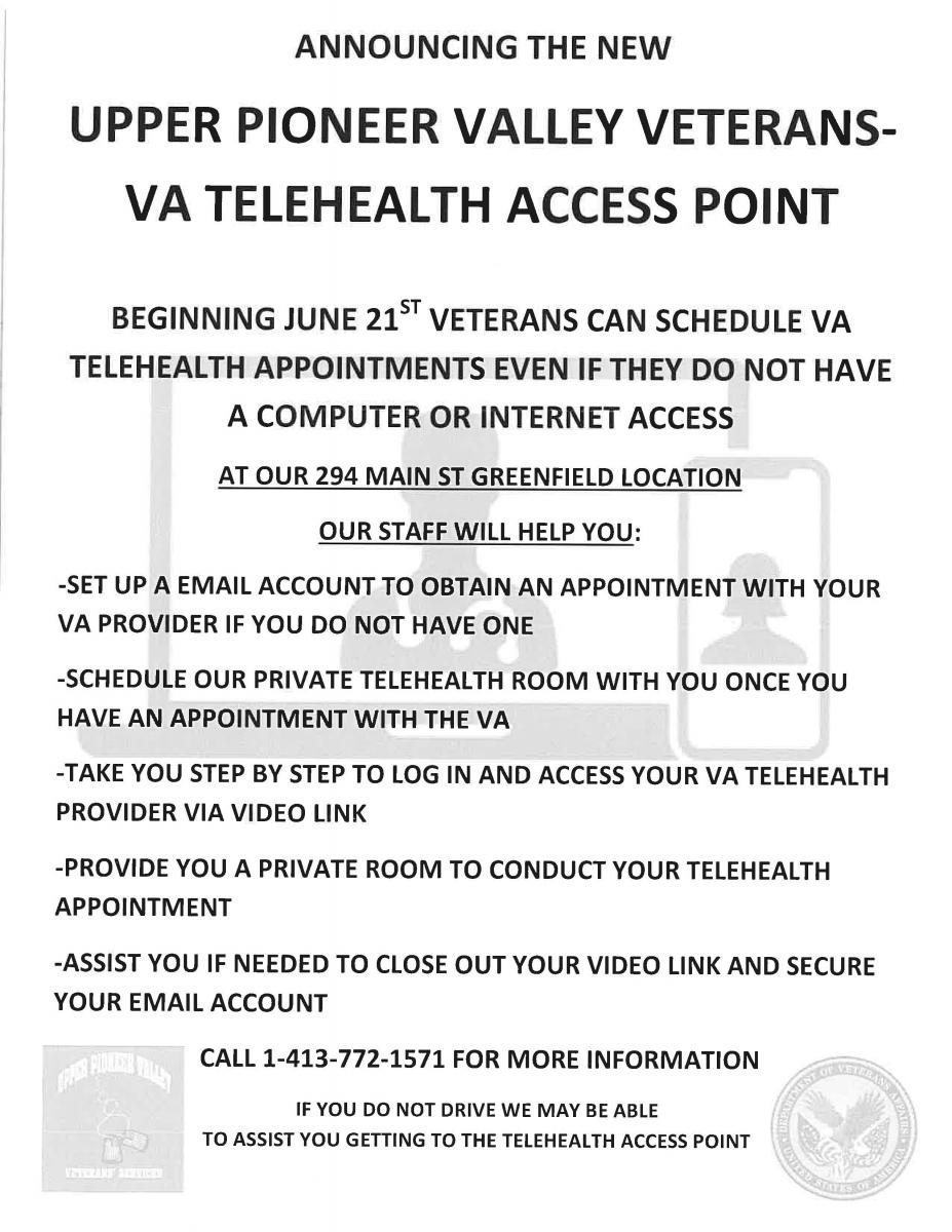 Upper Pioneer Valley Veterans' Services - VA Telehealth